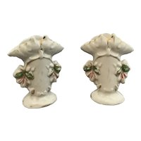 Pair of miniature china posy vases marked XXI and 307