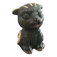 Mexican redware slip decorated dog figurine