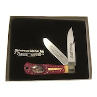 20th Anniversary Remington Bullet Poster 2 blade folding pocket knife MIB in original presentation box and COA