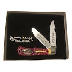 20th Anniversary Remington Bullet Poster 2 blade folding pocket knife MIB in original presentation box and COA