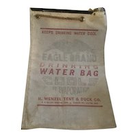 Eagle Brand Canvas Automobile Drinking Water Bag H. Wenzel Tent and Duck Co.