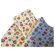 3 Matched Vintage Feed Sack Cloths with bold  red, yellow. blue, and green circles and dots