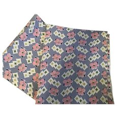 Two Matching Vintage Feed Sacks, Blue with Pink flowers