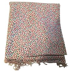 Vintage Feed Sack Fabric with tiny red flowers