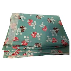 Vintage Feed Sack Cloth with Flower Bouquets on Turquoise background