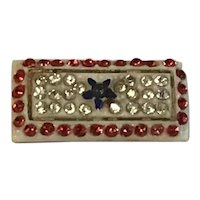 World War II Sweetheart Blue Star pin with Red, White and Blue paste rhinestones.