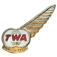 Vintage TWA Junior Hostess Single Wing metal pin marked Korea