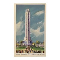 Unused Century of Progress 1934 Chicago World's Fair Havoline Thermometer Postcard