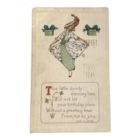 1916 Birthday Postcard with Verse by Helen E. Jeffers