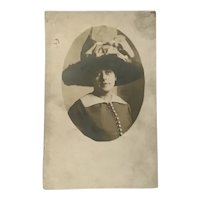 Unused Real Photo Post Card Woman in Merry Widow Hat