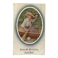 "Unused Advertising Ink Blotter ""Canoe Girl"" John S. Helmley Notary Public"