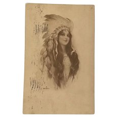 1911 Sepia Post Card with Beautiful Indian Maiden