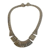 Mid-Century Industrial Chrome Collar Necklace