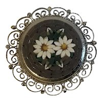 Vintage Italian Gray Micromosaic Pin with Daisies in Silvertone Filigree Frame