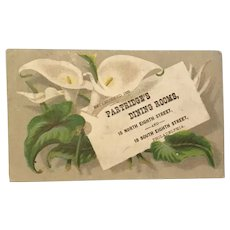 Advertising Trade Card Partridge's Dining Rooms Philadelphia