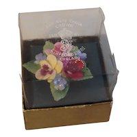 Crown Staffordshire English Bone China Floral Pin in Original Box