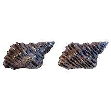 Silvertone Triton Sea Shell Cufflinks with Lavender and White Wash