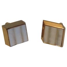 Swank Mother of Pearl and Gold Tone Metal Cufflinks