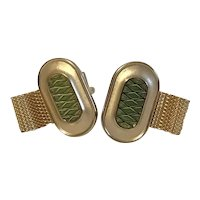 Vintage Hickok USA Green Enamel and Gold Tone Wrap Around Cuff Links