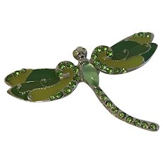 Green Enamel and Silver Tone Dragonfly Pin