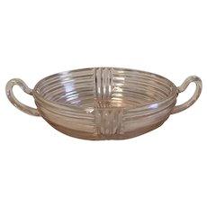 Anchor Hocking Pink Manhattan Depression Glass Two-Handled Bowl