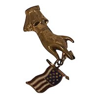 Art Deco Patriotic Hand With American Flag Figural Pin