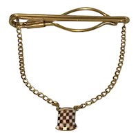 Vintage Tie Clip with Chain and Checkerboard Feed Sack Ornament