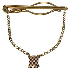 Vintage Tie Clip with Chain and Checkerboard Purina Feed Sack Ornament