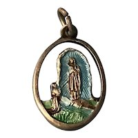 Our Lady of Lourdes and St. Bernadette Enamel and Silver Tone Medal Italy