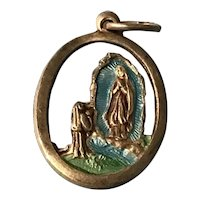 Our Lady of Lourdes and St. Bernadette Incised Silvertone and Enamel Medal Italy