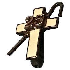 Small White Enamel Masonic Cross and Shepherd's Crook 25 year pin
