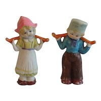 Pair of Bisque Hand Painted Dutch Boy and Girl Carrying Water Made in Japan