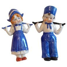 Glossy Glazed Bisque Blue and White Dutch Boy and Girl Carrying Water Made in Japan.