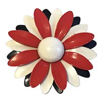 Large Enamel Flower Pin in Patriotic Colors
