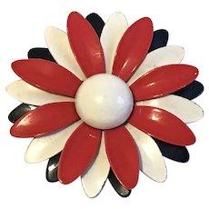 Large Enamel Flower Pin in Patriotic Colors