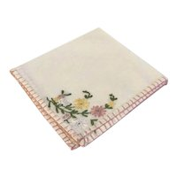Hand Embroidered Handkerchief with Multi-colored Floral Motif