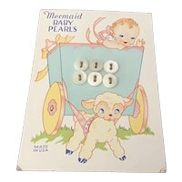 Mermaid Baby Pearls Buttons on Original Card with Nursery Graphics