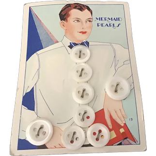 Mermaid Pearls Original Card of Men's 4-hole sew-through Shirt Buttons with Great Graphics
