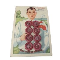 Original card of Dyed Pearl Man's Shirt Buttons with Great Graphics