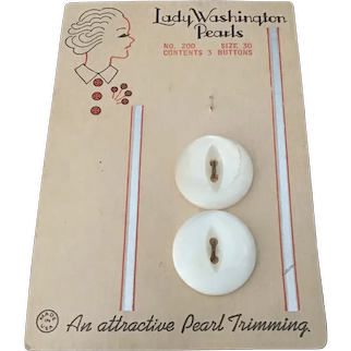 Lady Washington Pearl Buttons or Original Card with Art Deco Design