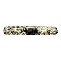 Sterling Silver Bar Pin with Black Glass and Rhinestones