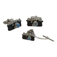 Vintage 1950's Single Lens Reflex Camera Cuff Links and Tie Tac