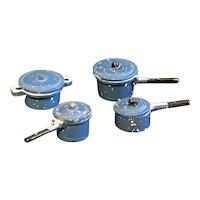 Dollhouse Miniature Set of 4 Blue Graniteware or Spatterware Pots with Lids