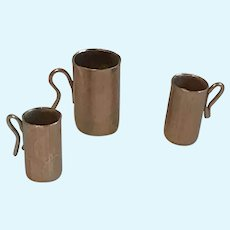 Miniature Dollhouse Copper Clad Pitcher and Tankards