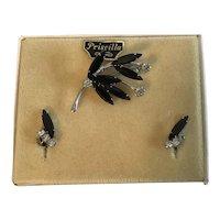Vintage Priscilla Pin and Earrings Demi-Parure in Original Presentation Box