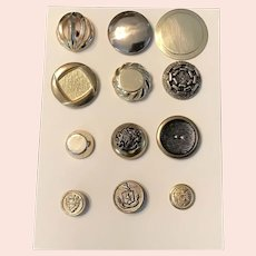 Collector's Work Card of Vintage Yellow Metal Buttons