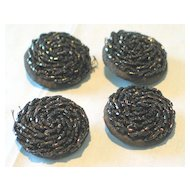 Set of 4 Hand-Beaded Cloth Buttons