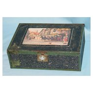 Metal covered wooden cigar box with mirror