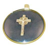 c1938 Crucifix Under Convex Glass