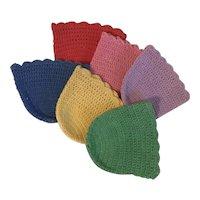 Vintage Set of 6 Hand Crocheted Jewel Tone String Crochet Beverage Glass Cozies